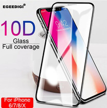 10Pcs Egeedigi 10D Full Protective Glass For iphone 7 8 6 6s PLus Tempered Screen X XR XS Max Protector Film