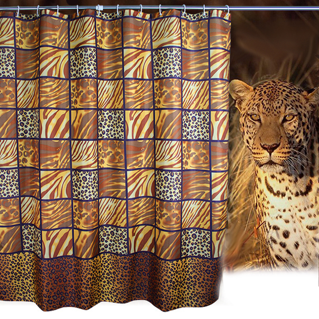 Fashion Wild Leopard Shower Curtain Mildew Waterproof Polyester Fabric Home Hotel Packages Free Hook