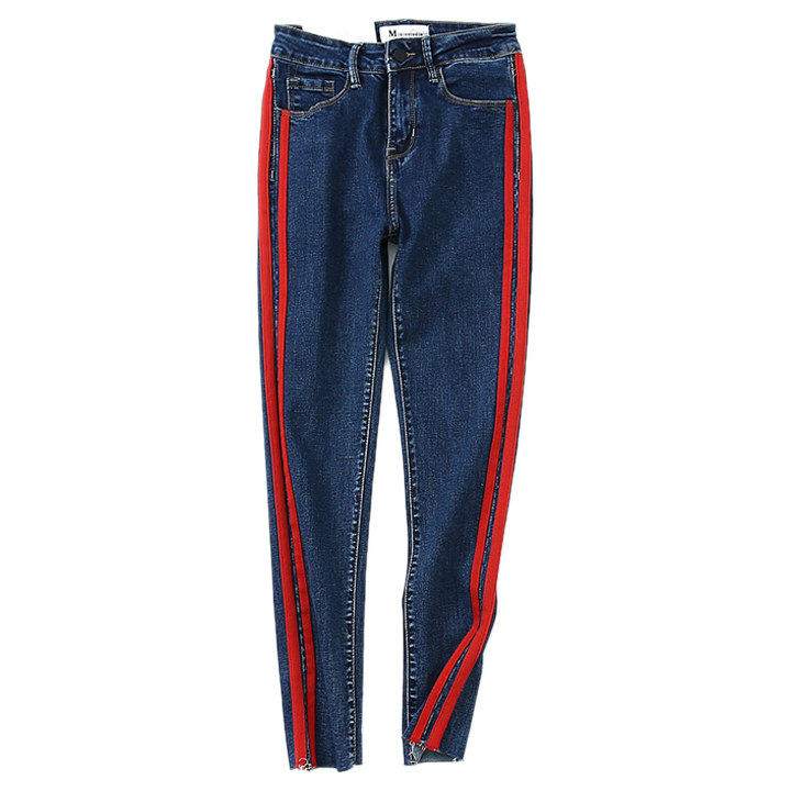 and winter, the new side of the belt weaving, red stripes, tight stretch nine points pants, slim slim shoes, jeans the rise of nine