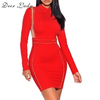 Deer Lady Women Red Bandage Dress Rayon 2017 Party Dress Long Sleeve Bodycon Dress With Bead