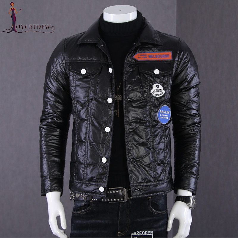 Men   Down   Jacket Winter Short Pilot Glossy Jackets Men Lightweight Korean Trend Casual   Coats   Winter Men Locomotive Outerwear N665