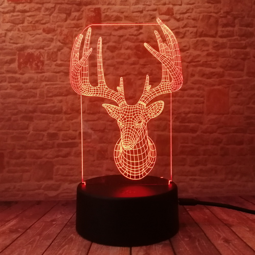 Novelty 3D Long Horned Deer Christmas Decor Night Light Lamp Gadget - Night Lights - Photo 2
