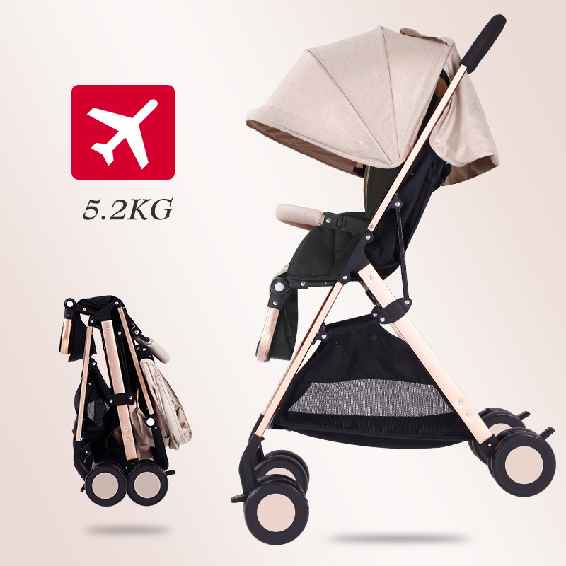 EU Warehouse Light Weight Travel Baby Stroller Portable Can Sit And Lying Folding Baby High Landscape Stroller