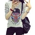 Poleras mujer 2016 camiseta femme animal print t shirt mujeres mujeres camisetas de manga larga casual camiseta de algodón camiseta de la mujer ropa
