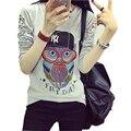Poleras mujer 2016 camiseta femme camiseta animal print mulheres luva longa das mulheres tops casual camiseta de algodão t-shirt da mulher roupas