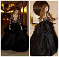 2016 New Arrival Myriam fares Sexy Elegant Black Lace Sleeves Open Back Long Evening Prom Celebrity Dress Ball Gown Custom Made