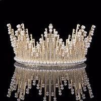 Vintage Gold Pearl Tiara Round Big Crown Crystal Rhinestones Bride Hair Jewelry Queen Crowns For Wedding Accessories Hairwear