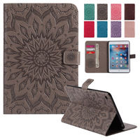 BINUODA For iPad Mini 4 Case Luxury Sunflower Design Folio Book Leather Kickstand Wallet Cover for iPad Mini 4 Soft TPU Shell