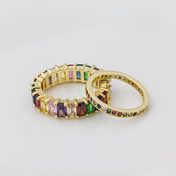 Colorful CZ Eternity Band Ring Thin Skinny Engagement Wedding Birthstone Rainbow Color Classic Simple Round Circle Finger Rings 3