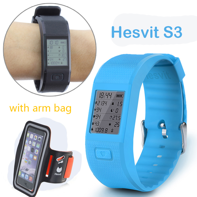 Hesvit S3 Bluetooth Smart Band Sport Fitness Bracelet Pedometer Heart Rate Sleep Monitor Data Reminder Wristband