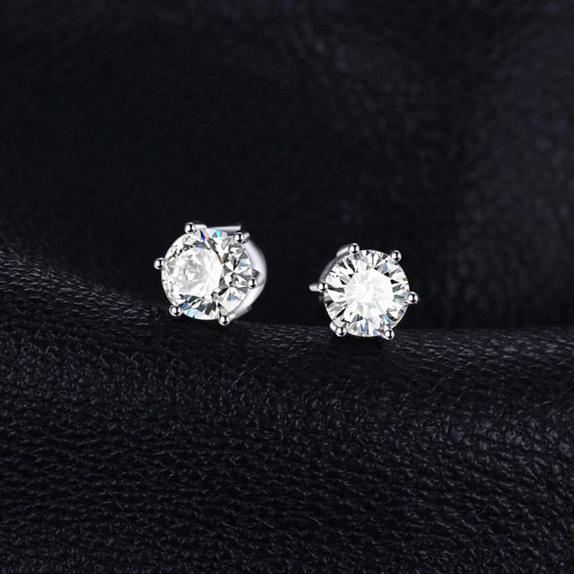 JewelryPalace Round 1.2ct Natural White Topazs Earrings Stud Solid 925 Sterling Silver Anniversary Jewelry New Arrival Nice Gift