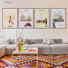 Póster Artístico impreso Vintage de París, Roma, Londres, viaje, ciudad, Póster Artístico impreso, cuadro de lienzo para sala de estar, decoración del hogar, sin marco