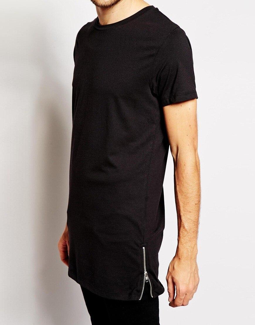 242b8bd1676d Brand New Clothing Mens Black cotton t shirt Hip Hop Short Sleeve longline  streetwear t shirt Zip Regular O neck long t shirt-in T-Shirts from Men's  ...