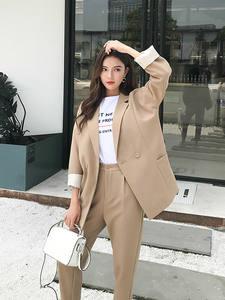 BGTEEVER Pant Suits Jacket Blazer Casual Women High-Quality Autumn Solid Khaki No Notched-Collar