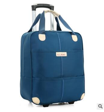New 2017 travel trolley bag with wheels women men Unisex luggage bag on wheel suitcase Travel Duffle Oxford Travel bag on wheels(China)