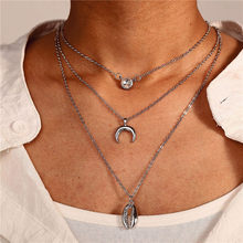 Hot Three Layers Shell Crystal Moon Pendant Necklaces Natural Women Seashell Multilayer Choker Necklace Bohemian Jewelry