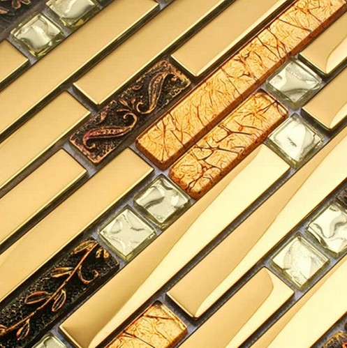 3d Luxury Golden Glass Mixed Metal Mosaic Tile Kitchen