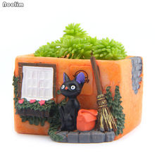 NOOLIM Small Cute Black Cat Backpack Broom Corner Resin Succulents Pot Home Living Room Office Decoration Mini Flower Pot(China)