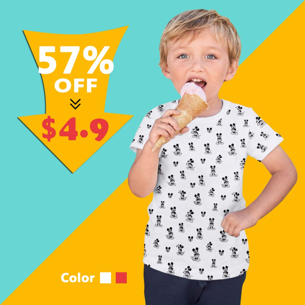 fashion boys Summer Cartoon with mouse printing T shirt girls Cotton white red Short sleeve sweatshirt kids birthday top clothes