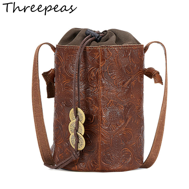 THREEPEAS mini Women Handbag Genuine Leather Drawstring Crossbody Bag  Wholesale Embossed Ladies Bucket Bag 07358d4fcf514