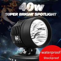 1X 40W White 6000K 4500LM 1PCS With CREE Chips Car LED Motorcycle Headlight Fog Spot HeadLamp Spotlight Waterproof Moto Bulb