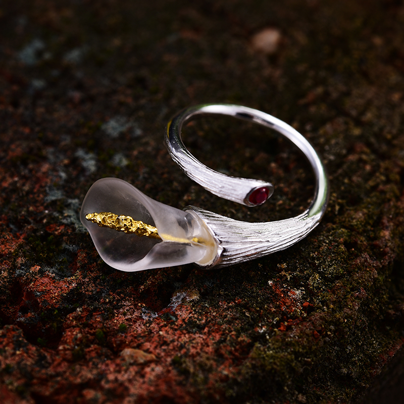 Lotus Fun Genuine 925 Sterling Silver Rings for Women Calla Lily Flower Red Zircon Finger Ring Resizable Silver 925 Jewelry