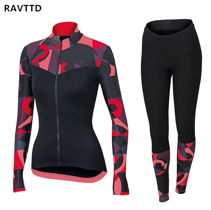 2018 RAVTTD Women s Thermal Fleece Cycling Jerseys Kits Bike Bicycle Clothes Clothing Sets Ropa Ciclismo