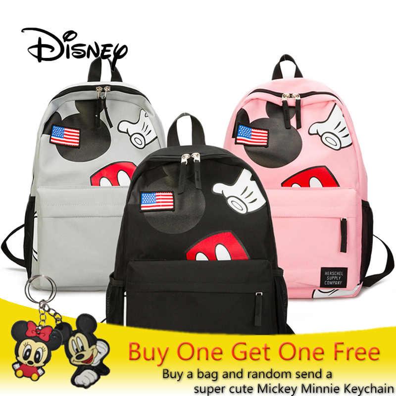 6eb1149b1a 2018 Disney Mickey Mouse Bag Plush Backpack Casual Girls School Bag High  Quality Satchel Book Bag