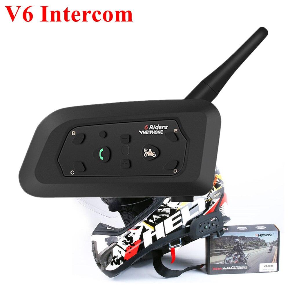 Vnetphone V6 Intercom Wireless Helmets Blutooth Headset IP65 Waterproof 1200m Intercomunicador Moto Interphone For 6 Riders GPS
