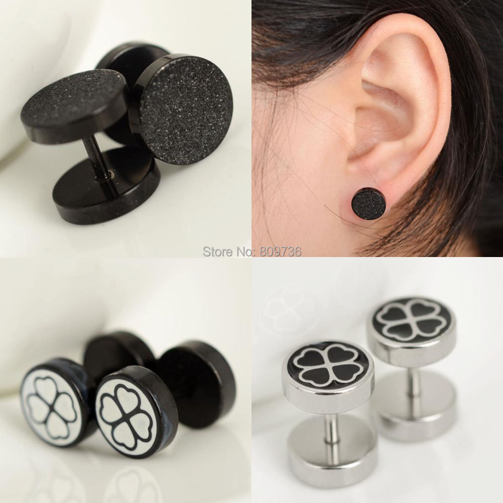 1pc Charm Four Leaf Fake Cheater Barbell Ear Plug Stainless Steel Clover  Earring Stud Stretcher Gaugue