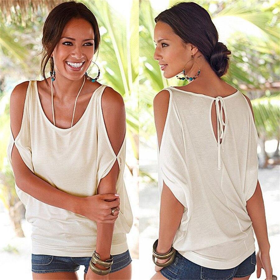 HTB19sz6KVXXXXcNXVXXq6xXFXXX5 - T shirt O neck Short sleeve Off shoulder Sexy Loose Casual