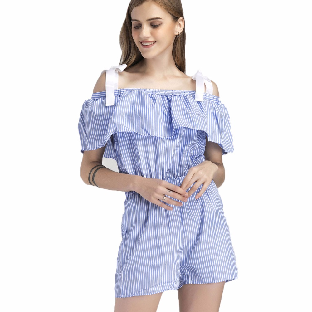 Rompers Womens Jumpsuit Blue Stripe Ruffles Playsuits Off Shoulder Female Casual Summer Clothing Short Women Playsuits White