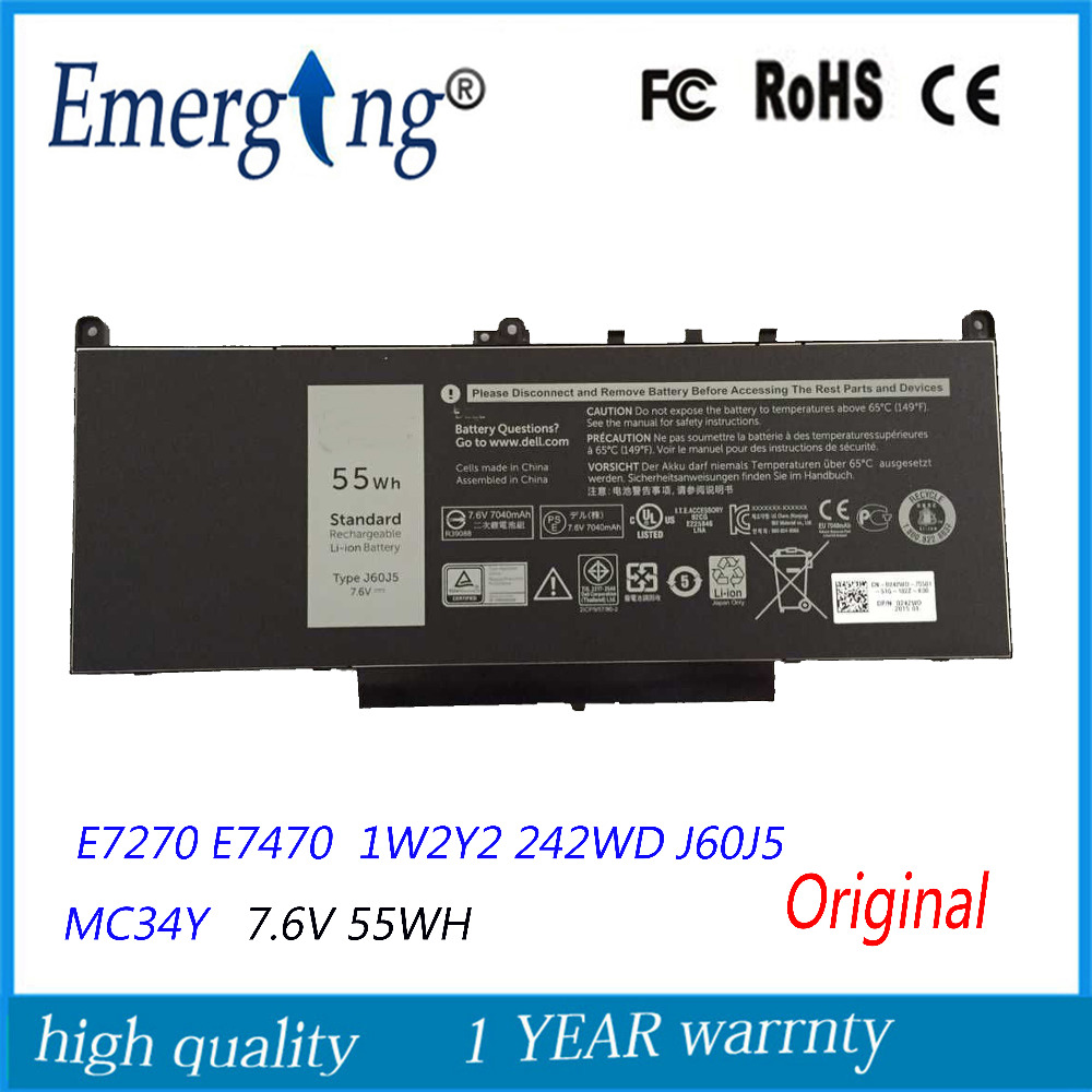 7.6V 55Wh New Original Laptop Battery for Dell E7270 E7470 1W2Y2 242WD J60J5 MC34Y