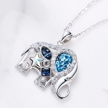 Cdyle Crystals from Swarovski Women Cute Animal Necklace S925 Sterling Silver Elephant Pendants Blue Rhinestone Jewelry Bijoux