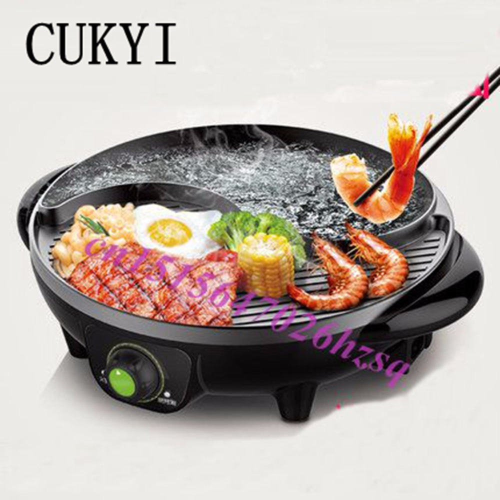 CUKYI Electric Hot pot boiling and baking multifunction electric household grill Multi Cookers Barbecue plate cukyi automatic electric slow cookers purple sand household pot high quality steam stew ceramic pot 4l capacity