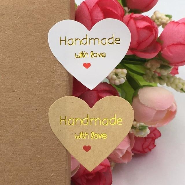 54b219c011b8 500 unids Kraft sticker labels amor oro sellado Adhesivos hecho a mano con  amor regalo de