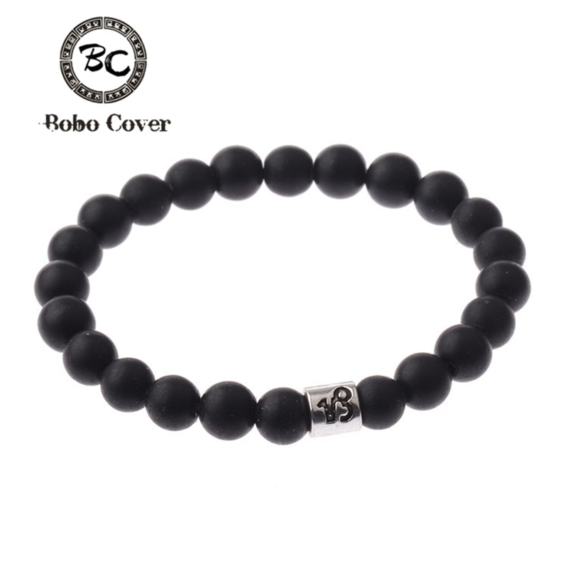 12 Zodiac Signs Beads Bracelets Handmade Vintage LMatte Stone Beads Elastic Bracelets Jewelry For Men Women Charm Jewelry 2017