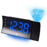 Modern design digital LED alarm clock with thermometer Desktop rotating projection electronic clock Bedroom snooze alarm clock