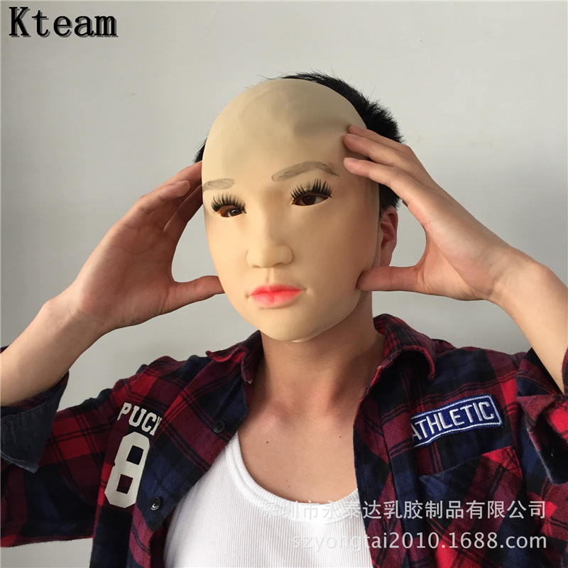 2018 New XMAS Realistic Man Skin Mask Male silicone female Face mask crossdresser transgender mask Fancy Dress Costume in Party Masks from Home Garden