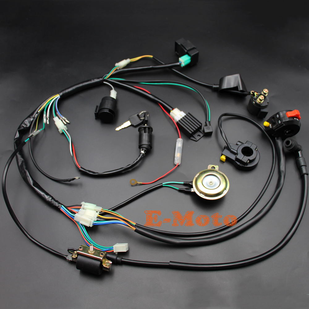 hight resolution of brand new complete kick start engine wiring harness loom with light wires for 50cc 70cc 90cc 110cc 125cc 140cc pit pro trail dirt bike