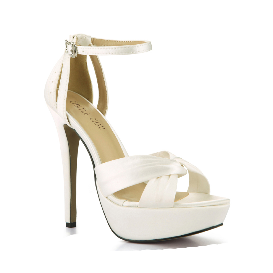 CHMILE CHAU Ivory Satin Elegant Wedding Party Women s Shoes Open Toe  Stiletto Heel Dating Platform Sandals with Buckle 3463SL b1-in High Heels  from Shoes on ... 294fb62798ff