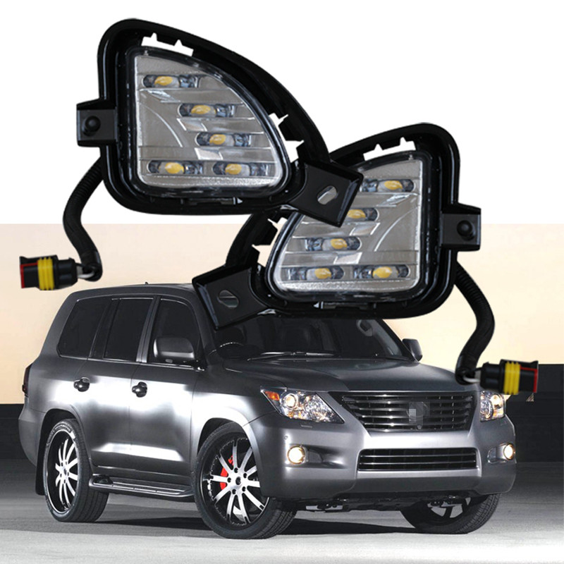 ФОТО Hot sale! LED DRL for  LX570 daytime running light bumper lamp work light driving lamp Car styling accessory