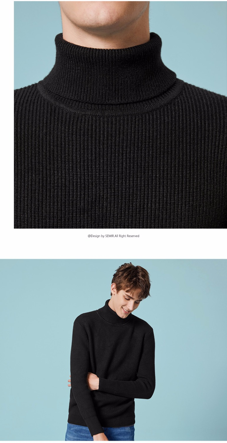 SEMIR Winter Warm Turtleneck Sweater Men Double Collar Fashion Solid Knitted Mens Sweaters 18 Casual Male Slim Fit Pullover 9