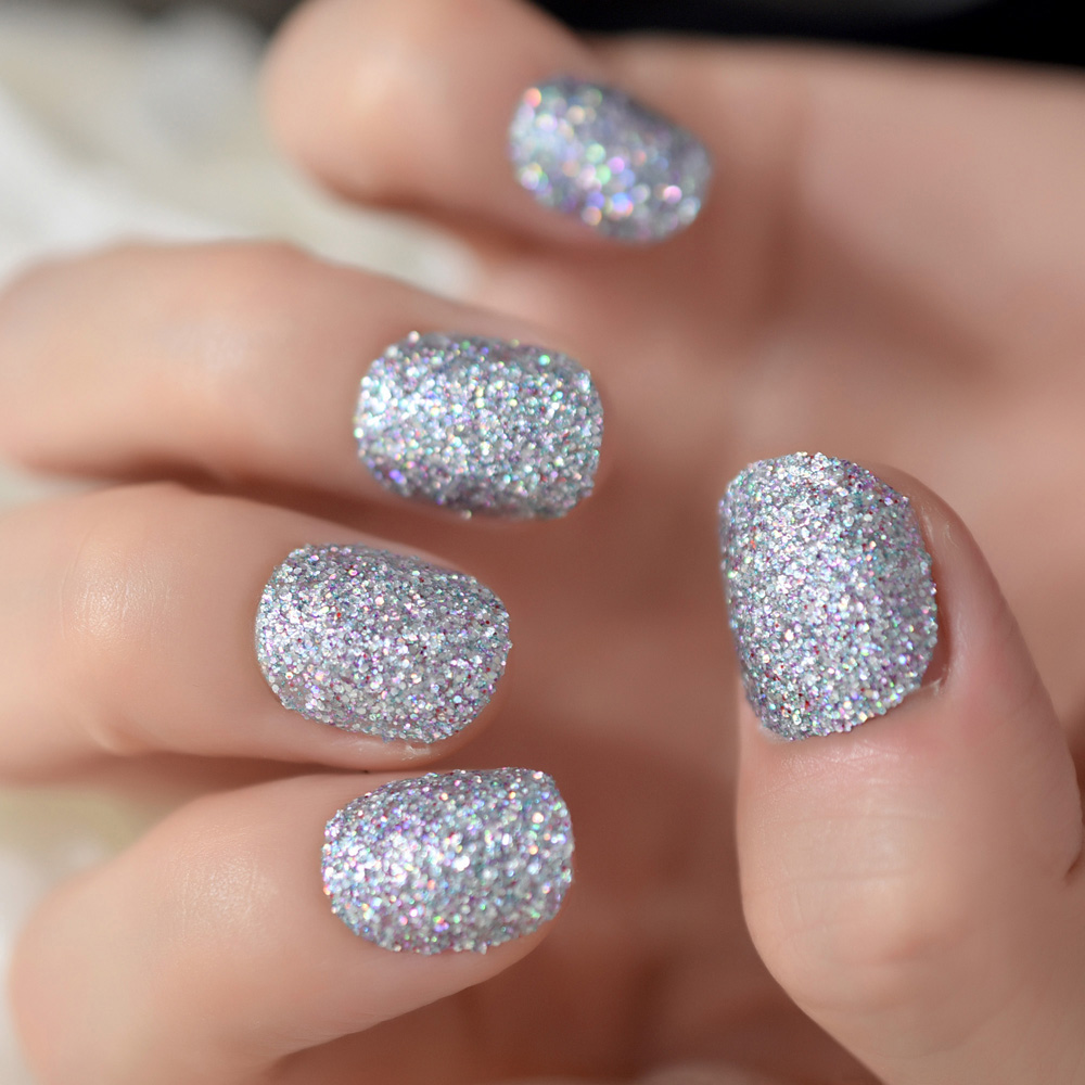 Full Thick Glitter Style False Nails with Holographic Glitter Short ...