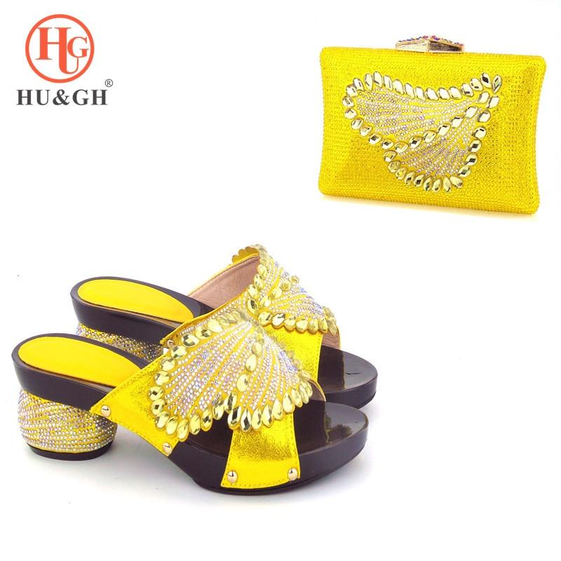 Итальянская желтая дизайн вечерние обувь и комплект с сумкой с камнями в африканском стиле туфли-лодочки с сумочкой итальянская обувь и Сум...