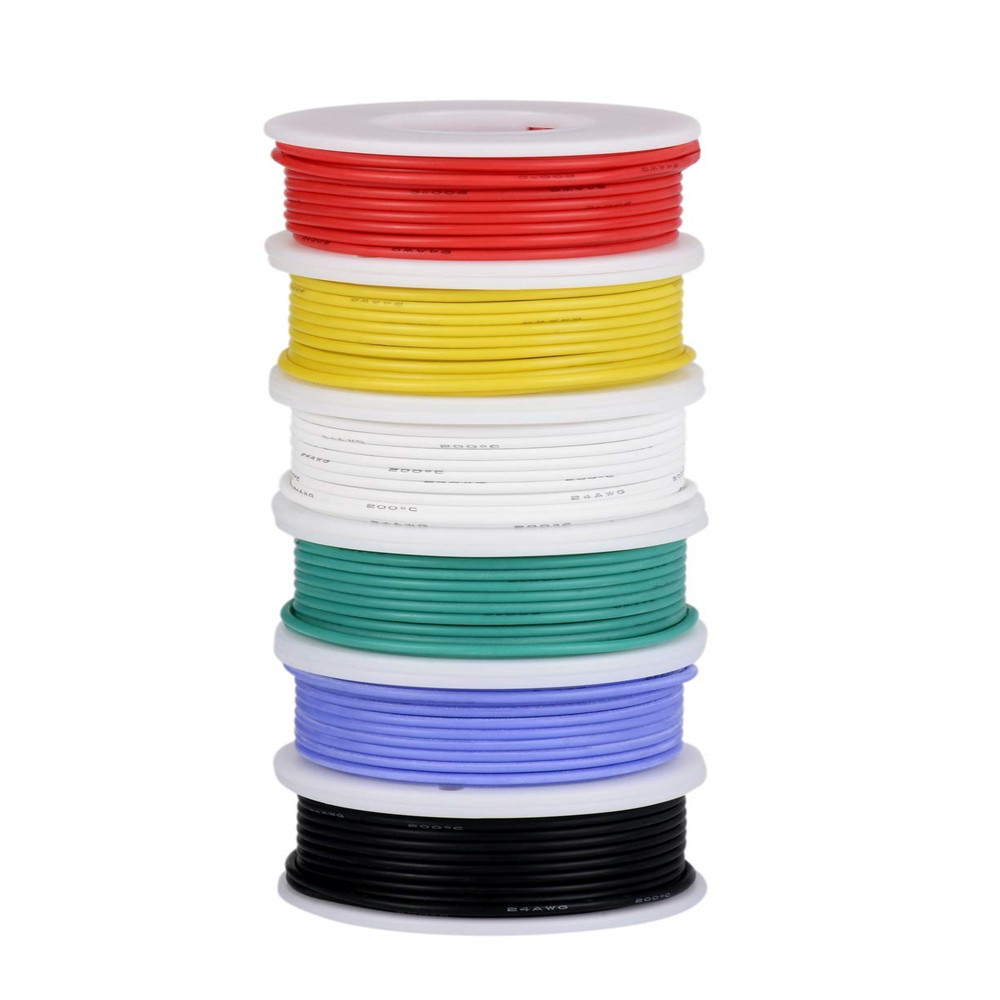 TUOFENG 26awg Electric Wire, Hook up Wire Kit Flexible Silicone Wire(6 Different Colored 10 Meter spools) 300V Stranded Wire
