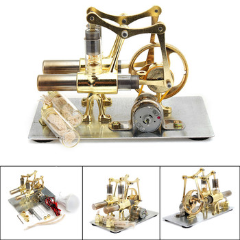 Balance Stirling engine miniature model steam power technology scientific power generation experimental toy wooden hydraulic excavator model handmade scientific experiments steam
