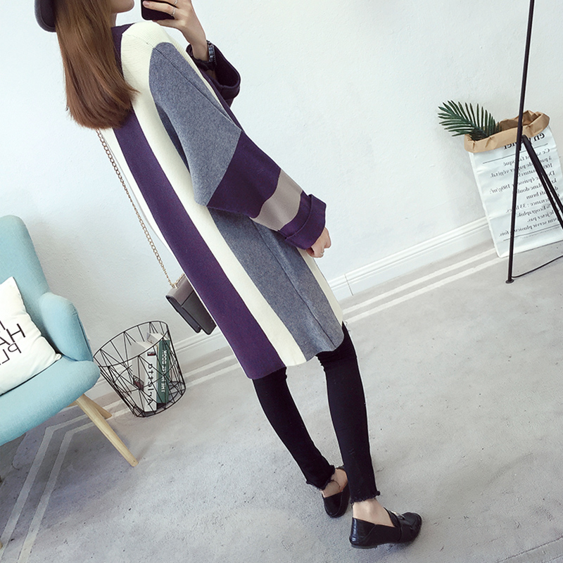 Jackets for pregnant women autumn and winter sweater coat leisure loose fashion long cardigan jacket for pregnancy gray and white loose fit cardigan sweater