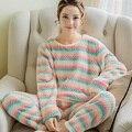 Onesie зима новый леди утолщенной фланель пижамы костюм Корейской моды женской одежды Домашнего Интерьера Коралловый Флис Пижамы
