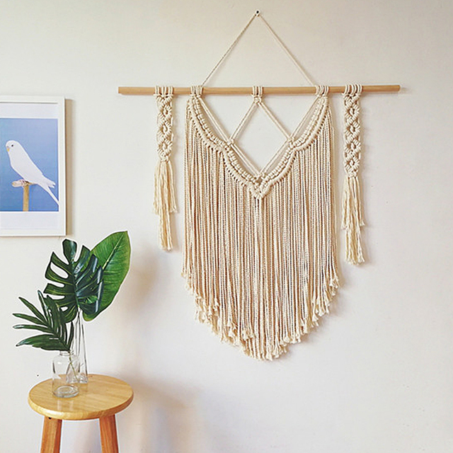 Macrame Wall Art Handmade Cotton Wall Hanging Tapestry With Lace ...